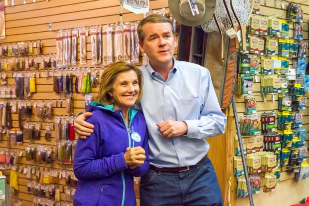 Senator Michael Bennet and 3rd Congressional District candidate Gail Schwartz speak to a small crowd at the Roaring Fork Anglers Fly Shop on Thursday afternoon. The pair are taking part in a statewide Get-Out-the-Vote bus tour to remind Colorado residents what is at stake and to encourage them to get out and vote in the upcoming election. The tour kicked off last week in the Front Range and will make stops in Hotchkiss, Ridgway and Durango Friday and end the tour in Leadville at 4:30 p.m. Saturday.