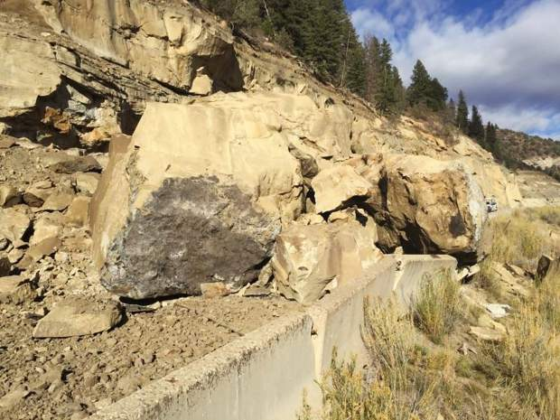 The rockslide north of Paonia Wednesday is expected to cause a