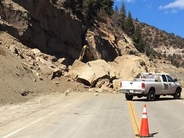 A rock slide dumped more than 100 tons of debris on the Colorado 133 Wednesday.
