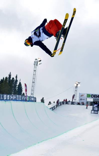 Young Jaxin Hoerter of Breckenridge leans into an inverted tail grab during practice before the men's freeski superpipe semifinals for Dew Tour in 2015. The event returns to Breckenridge with a new format Oct. 8-11.