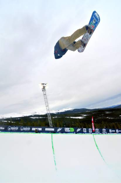 Danny Davis tweaks a nose grab through an invert during practice before the men's halfpipe semifinal at the 2015 Dew Tour. The event returns to Breckenridge with a new format Oct. 8-11.