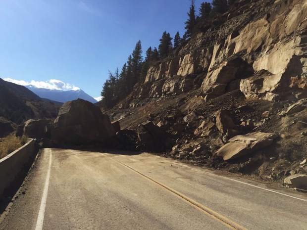 Highway 133 traffic is being diverted at the Collbran turn-off, around milemarker 36, and Kebler Pass, milemarker 24, due to a major rockslide.
