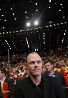 2016 Tour de France winner Chris Froome of Britain attends the presentation of the 2017 Tour de France cycling race in Paris, France, Tuesday, Oct. 18, 2016. The race will start on July, 1, 2017 with a prologue in Dusseldorf, Germany, and counts 20 stages. (AP Photo/Christophe Ena)