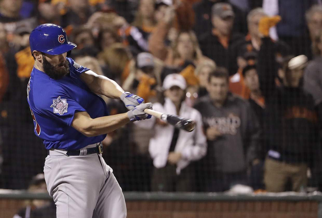 Chicago Cubs' Jake Arrieta hits a three-run home run against the San Francisco Giants during the second inning of Game 3 of baseball's National League Division Series in San Francisco, Monday, Oct. 10, 2016. (AP Photo/Marcio Jose Sanchez)