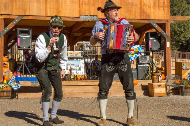 Alpine Echo band members Joe Pologar (left) and Gerhard Rill (right) perform for the crowd at the Glenwood Caverns Adventure Park Mountain Fall Festival Saturday afternoon.