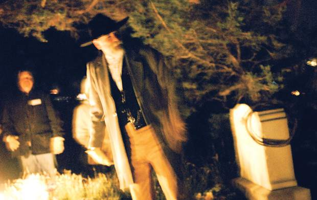 The ghost of Jasper Ward tells his story to visitors next to his grave site at the Linwood Cemetery above Glenwood Springs.