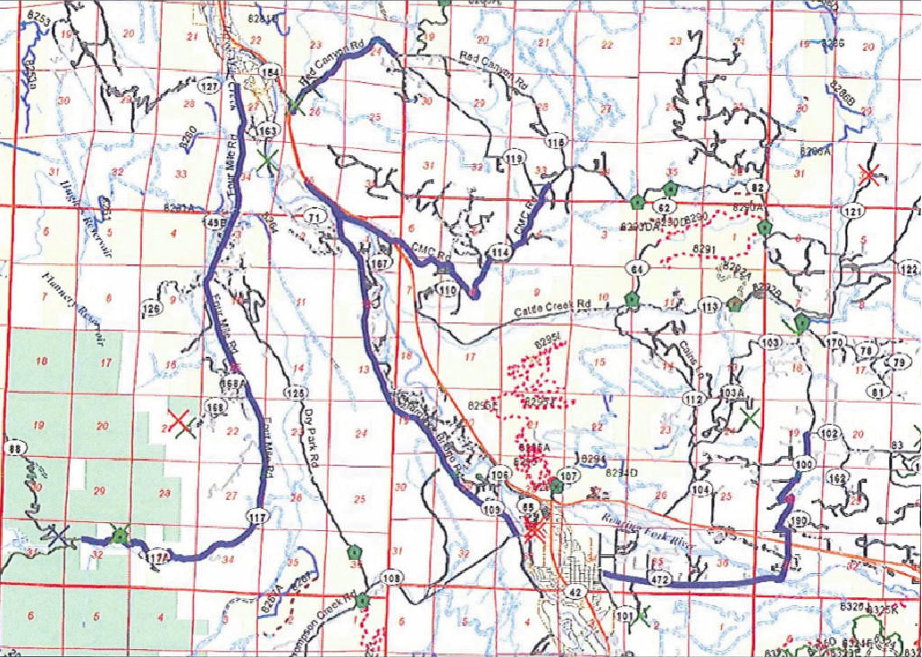 This map depicts county roads in the Glenwood Springs and Carbondale area. The heavy blue lines denote routes that would be closed to off-highway vehicles under a draft ordinance coming before the Garfield County commissioners.
