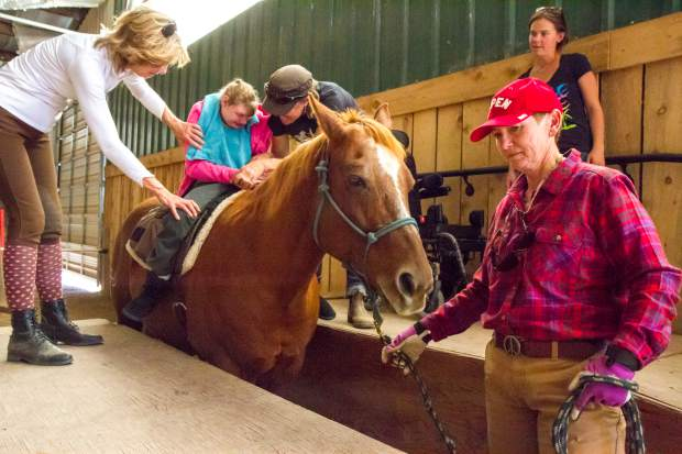 The WindWalkers Therapy Center has a specially made ramp to help those who are disabled or impaired easily get on the horse.