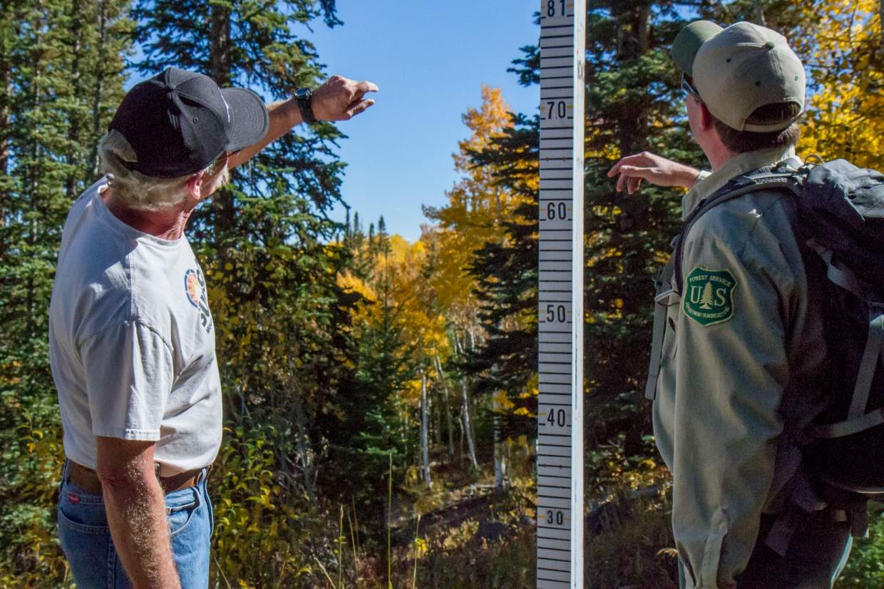 Sunlight Mountain Resort assistant general manager Ross Terry and Monte Lutterman of the Aspen-Sopris Ranger District take guesses on the amount of snow the resort will get this winter season.