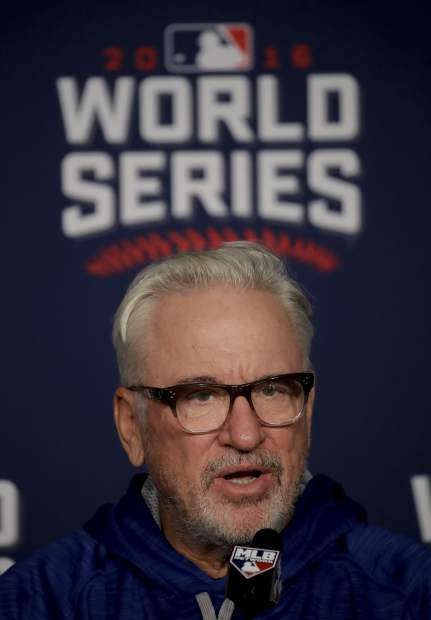 Chicago Cubs manager Joe Maddon talks during a news conference for baseball's upcoming World Series against the Cleveland Indians on Monday, Oct. 24, 2016 in Cleveland. (AP Photo/Charlie Riedel)