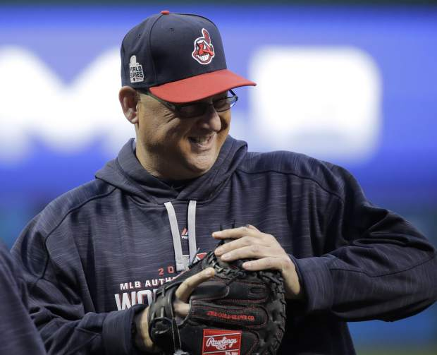 Cleveland Indians manager Terry Francona watches warm ups during a team practice for baseball's upcoming World Series against the Chicago Cubs on Monday, Oct. 24, 2016 in Cleveland. (AP Photo/Charlie Riedel)