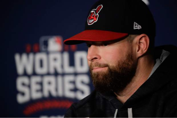 Cleveland Indians starting pitcher Corey Kluber talks during a news conference for baseball's upcoming World Series against the Chicago Cubs on Monday, Oct. 24, 2016 in Cleveland. (AP Photo/Charlie Riedel)