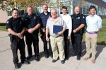 From left, Basalt Police officers Travis Newcomb and Thomas Wright, School Resource Officer Brian Lemke, Dan LeVan, Basalt High School Principal Peter Mueller, Chief Police Greg Knott and Assistant Principal Jamie Hozack.