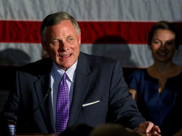 Sen. Richard Burr, R-N.C., talks to supporters as he gives his acceptance speech after winning re-election in Winston-Salem, N.C., Tuesday, Nov. 8, 2016 (AP Photo/Nell Redmond)