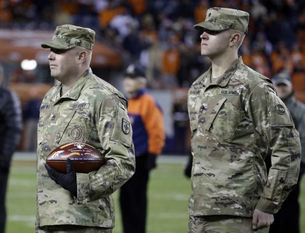 U.S. Army soldiers are recognized at half time of an NFL football game between the Kansas City Chiefs and the Denver Broncos, Sunday, Nov. 27, 2016, in Denver. (AP Photo/Jack Dempsey)
