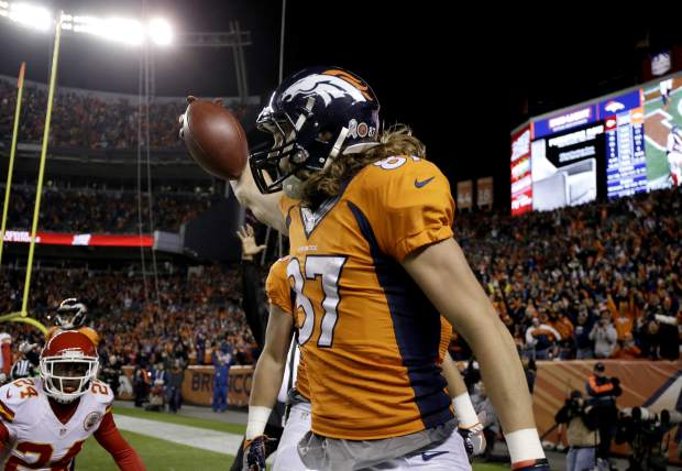 Denver Broncos wide receiver Jordan Taylor (87) celebrates his touchdown catch against the Kansas City Chiefs during the second half of an NFL football game, Sunday, Nov. 27, 2016, in Denver. (AP Photo/Jack Dempsey)