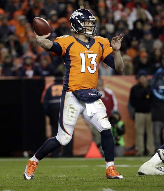 Denver Broncos quarterback Trevor Siemian (13) throws against the Kansas City Chiefs during the second half of an NFL football game, Sunday, Nov. 27, 2016, in Denver. (AP Photo/Jack Dempsey)