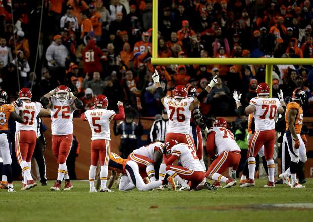 Kansas City Chiefs kicker Cairo Santos (5) isn't sure if his game winning field goal went through the uprights during overtime of an NFL football game against the Denver Broncos, Sunday, Nov. 27, 2016, in Denver. The Chiefs won 30-27 in overtime. (AP Photo/Jack Dempsey)