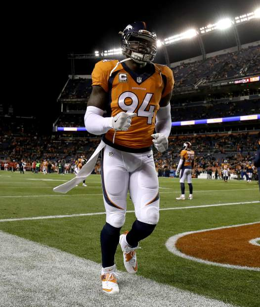 Denver Broncos outside linebacker DeMarcus Ware (94) takes the field prior to an NFL football game against the Kansas City Chiefs, Sunday, Nov. 27, 2016, in Denver. (AP Photo/Jack Dempsey)