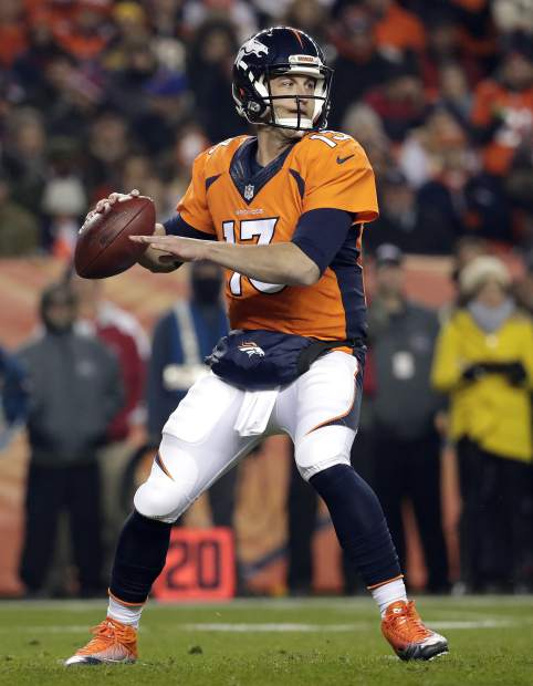 Denver Broncos quarterback Trevor Siemian (13) looks to pass against the Kansas City Chiefs during the first half of an NFL football game, Sunday, Nov. 27, 2016, in Denver. (AP Photo/Jack Dempsey)