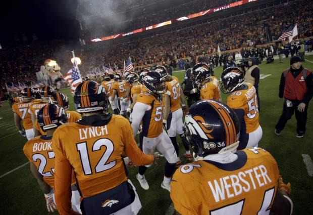 Denver Broncos outside linebacker Von Miller (58) takes the field prior to an NFL football game against the Kansas City Chiefs, Sunday, Nov. 27, 2016, in Denver. (AP Photo/Joe Mahoney)