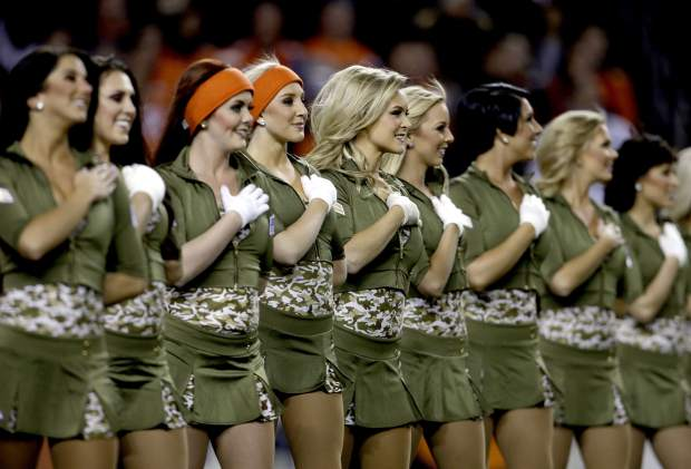 The Denver Broncos cheerleaders perform prior to an NFL football game against the Kansas City Chiefs, Sunday, Nov. 27, 2016, in Denver. (AP Photo/Joe Mahoney)