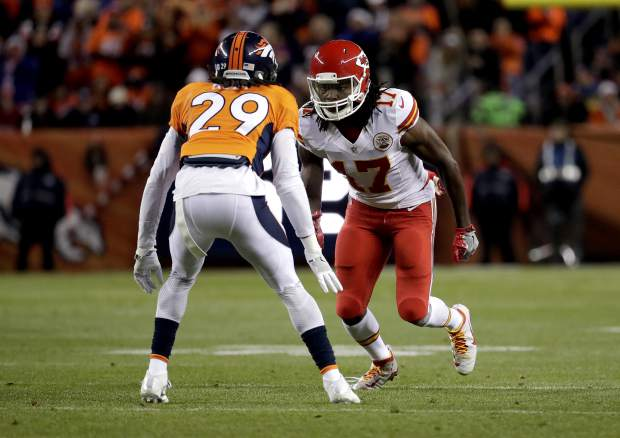 Kansas City Chiefs wide receiver Chris Conley (17) lines up against Denver Broncos cornerback Bradley Roby (29) during the first half of an NFL football game, Sunday, Nov. 27, 2016, in Denver. (AP Photo/Jack Dempsey)
