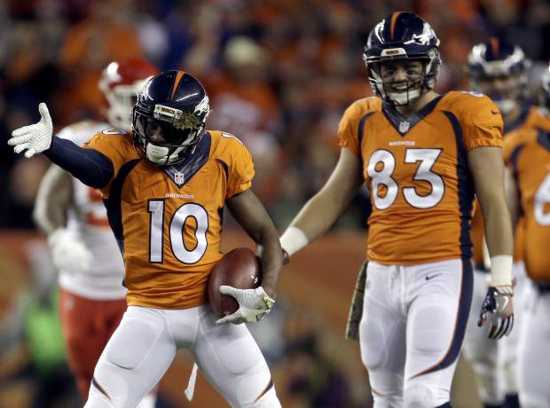 Denver Broncos wide receiver Emmanuel Sanders (10) celebrates a first down catch against the Kansas City Chiefs during the first half of an NFL football game, Sunday, Nov. 27, 2016, in Denver. (AP Photo/Joe Mahoney)