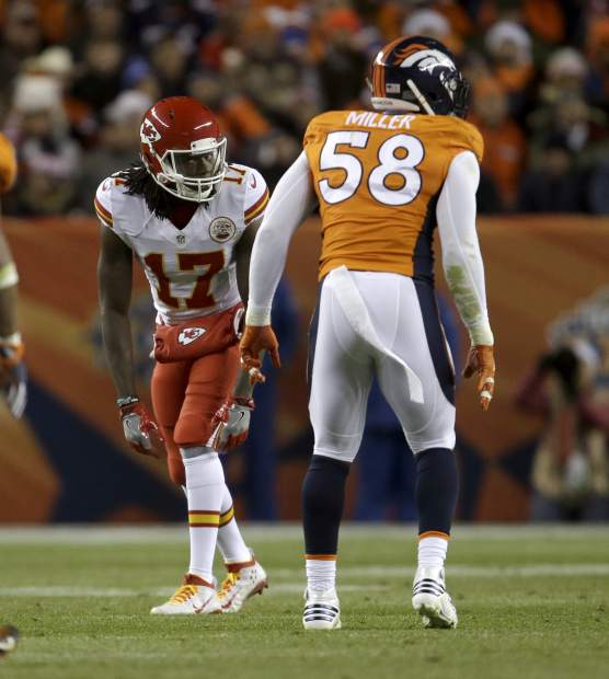 Kansas City Chiefs wide receiver Chris Conley (17) lines up against Denver Broncos outside linebacker Von Miller (58) during the first half of an NFL football game, Sunday, Nov. 27, 2016, in Denver. (AP Photo/Joe Mahoney)