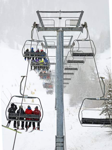 The Little Nell lift was consistently full through most of the day Sunday, Aspen Mountain's opening day.