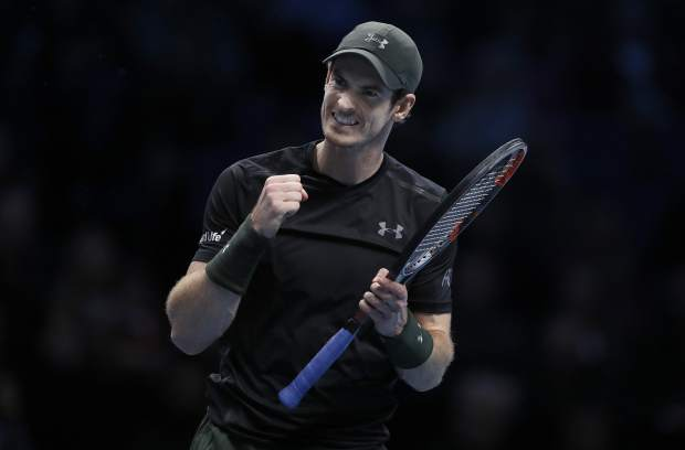 Andy Murray of Britain reacts during his ATP World Tour Finals singles final tennis match against Novak Djokovic of Serbia at the O2 Arena in London, Sunday, Nov. 20, 2016. (AP Photo/Kirsty Wigglesworth)