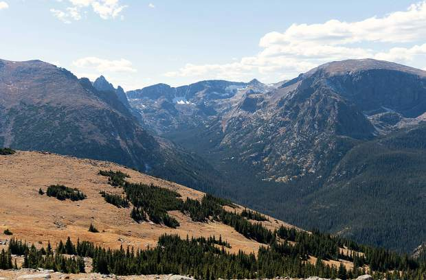 Looking out across a valley of massive peaks from a trail in Rocky Mountain National Park. The park is home to 350 miles of trails and more than 60 peaks higher than 12,000 vertical feet — perfect for training.