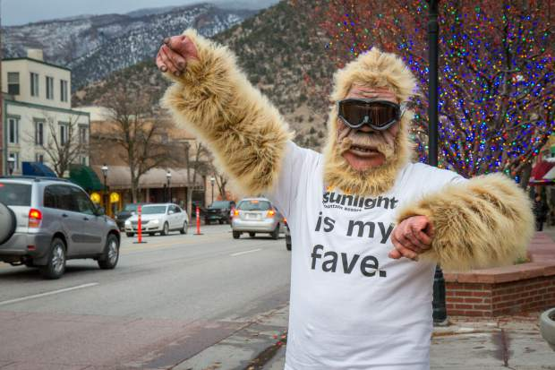 A yeti represents his favorite ski resort at the Glenwood Springs Welcomes the 2016 U.S. Capitol Christmas tree event in Centennial Park.