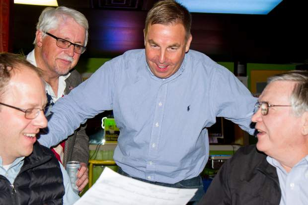 New 9th Judicial District Attorney Jeff Cheney speaks with supporters during the watch party at K Seas Winghouse on Tuesday night.