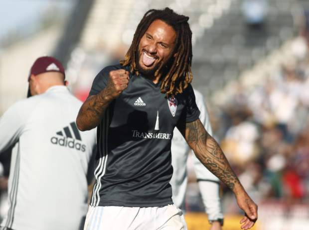 Colorado Rapids midfielder Jermaine Jones celebrates after stopping the Los Angeles Galaxy in the second leg soccer match of the Western Conference semifinals of the MLS cup playoffs in Commerce City, Colo., on Sunday, Nov. 6, 2016. Colorado won 1-0 and advances to the next round of the playoffs. (AP Photo/David Zalubowski)