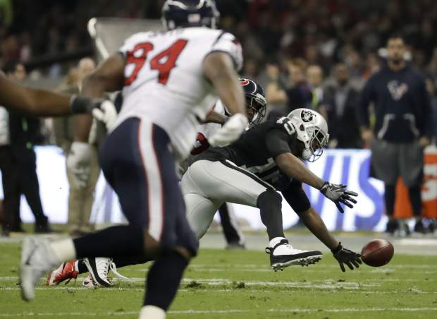 Oakland Raiders wide receiver Michael Crabtree can't reach a pass during the first half of an NFL football game against the Houston Texans Monday, Nov. 21, 2016, in Mexico City. (AP Photo/Rebecca Blackwell)