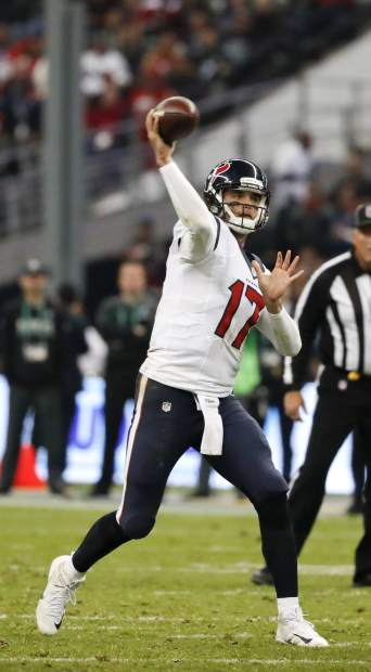 Houston Texans quarterback Brock Osweiler throws a pass during the second half of an NFL football game against the Oakland Raiders Monday, Nov. 21, 2016, in Mexico City. (AP Photo/Eduardo Verdugo)