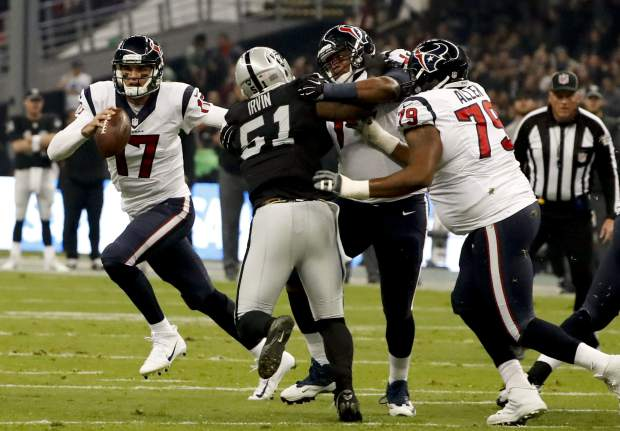 Houston Texans quarterback Brock Osweiler scrambles during the first half of an NFL football game against the Oakland Raiders Monday, Nov. 21, 2016, in Mexico City. (AP Photo/Eduardo Verdugo)