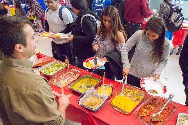 Students and faculty at Roaring Fork High School enjoy a large Thanksgiving meal on Friday.