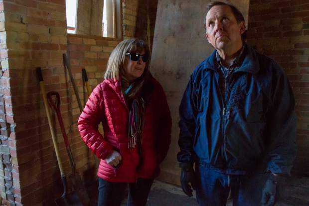 Steve Davis with wife Marilyn inside the 719 Grand Ave. building that they are currently in the process of renovating.