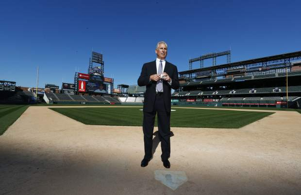 Newly-named Colorado Rockies manager Bud Black poses for photographers on the diamond in Coors Field following a news conference to introduce him as the new skipper on Monday, Nov. 7, 2016, in Denver. Black succeeds Walt Weiss, who left after four seasons as manager at the conclusion of the regular season. (AP Photo/David Zalubowski)