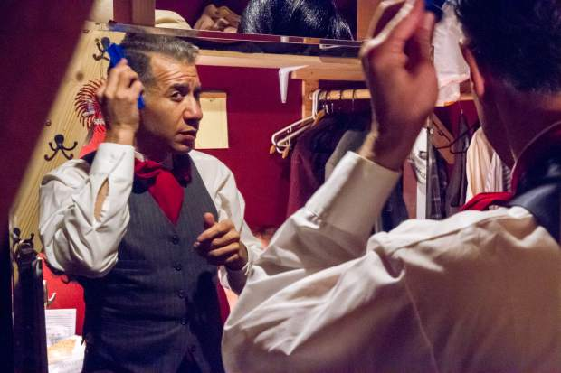 Franz Alderfer prepares himself for the character of Pirelli in Sweeney Todd.