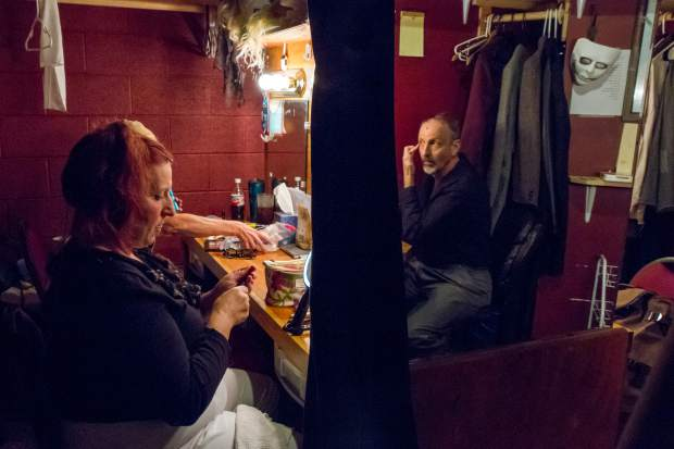Members of the cast of Sweeney Todd get ready to perform for a sold out show at Glenwood Vaudeville Revue.