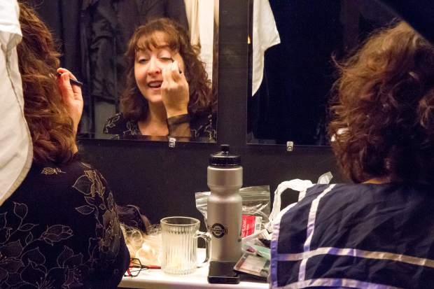 Sweeney Todd ensemble members Lisa Langer and Becky Levin.