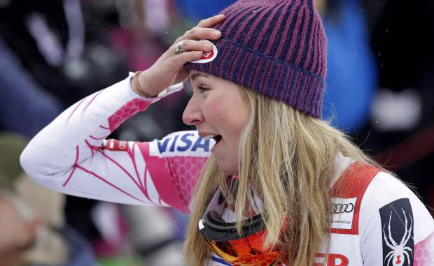 Mikaela Shiffrin, of the United States, reacts after winning the alpine skiing women's World Cup slalom in Killington, Vt., Sunday, Nov. 27, 2016. (AP Photo/Charles Krupa)