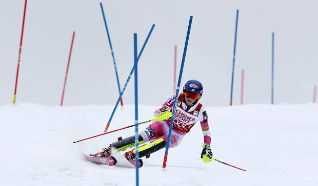 Mikaela Shiffrin, of the United States, competes during the second run of an alpine skiing women's World Cup slalom in Killington, Vt., Sunday, Nov. 27, 2016. Shiffrin won the slalom. (AP Photo/Charles Krupa)