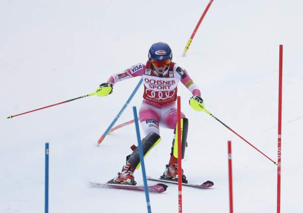 Mikaela Shiffrin, of the United States, takes her second run on the way to winning the women's FIS Alpine Skiing World Cup slalom race, Sunday, Nov. 27, 2016, in Killington, Vt. (AP Photo/Mike Groll)