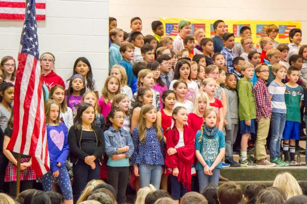 The fourth- and fifth-grade classes of Sopris Elementary School put on a concert to honor veterans in celebration and remembrance of Veterans Day at the school on Thursday morning.
