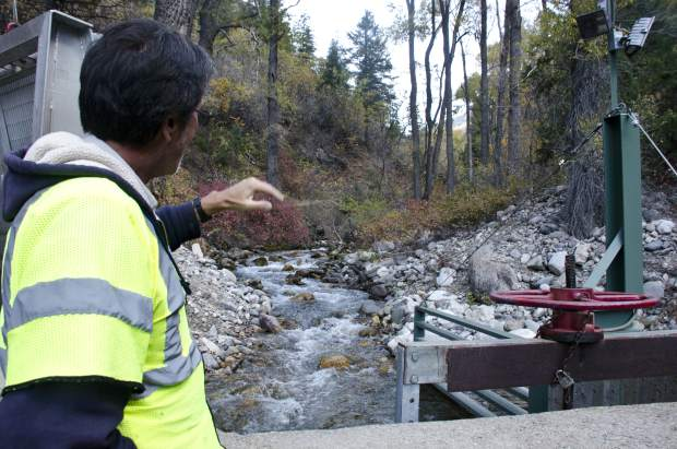 Glenwood Springs city worker Jerry Wade points out the intake gate on No Name Creek that begins the flow of water to the city's taps.