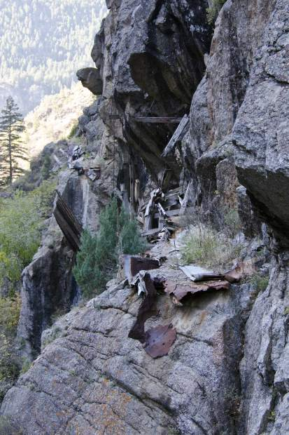 Remnants of the original flume carrying water from Glenwood Canyon to town.